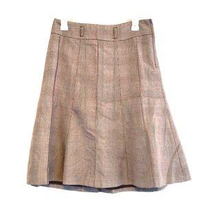 Pretty Brown White Plaid Pleated Skirt